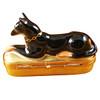 Limoges Imports Dobermann On Gold Box Limoges Box