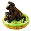 Limoges Imports Black Lab W/Puppy Limoges Box