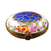 Limoges Imports Blue Oval W/Gold Circles Limoges Box