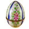 Limoges Imports Large Blue Striped Egg W/ Flowers Limoges Box