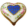 Limoges Imports Blue Heartw/Pink Flowers Limoges Box