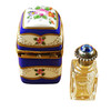 Limoges Imports Tall Blue With Flowers And Bottle Limoges Box