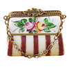 Limoges Imports Red Purse W/Flowers Limoges Box