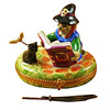 Limoges Imports Witch/Broom/Cat Limoges Box