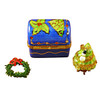 Limoges Imports Christmas Trunk W/Tree & Wreath Limoges Box