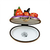 3 PUMPKIN SCENE WITH WITCH HAT Limoges Box RO212-H
