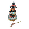 WITCH WITH BROOM AND CAULDRON Limoges Box
