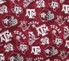 Texas A&M Gig Em Maroon Tone on Tone 100 Percent Cotton Fabric