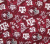 Texas A&M Gig Em Maroon Tone on Tone 100 Percent Cotton Fabric