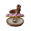 DACHSHUND Dog with Removable Brass Collar Rochard Limoges Box RD84