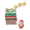 House With Santa And Brass Reindeer Rochard Limoges Box