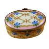 Pink Oval W/ Blue Flowers Rochard Limoges Box