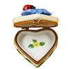 Heart Blue Flower W/Ladybug Limoges Box RH219-K