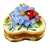 Heart Blue Flower W/Ladybug Limoges Box RH219-K
