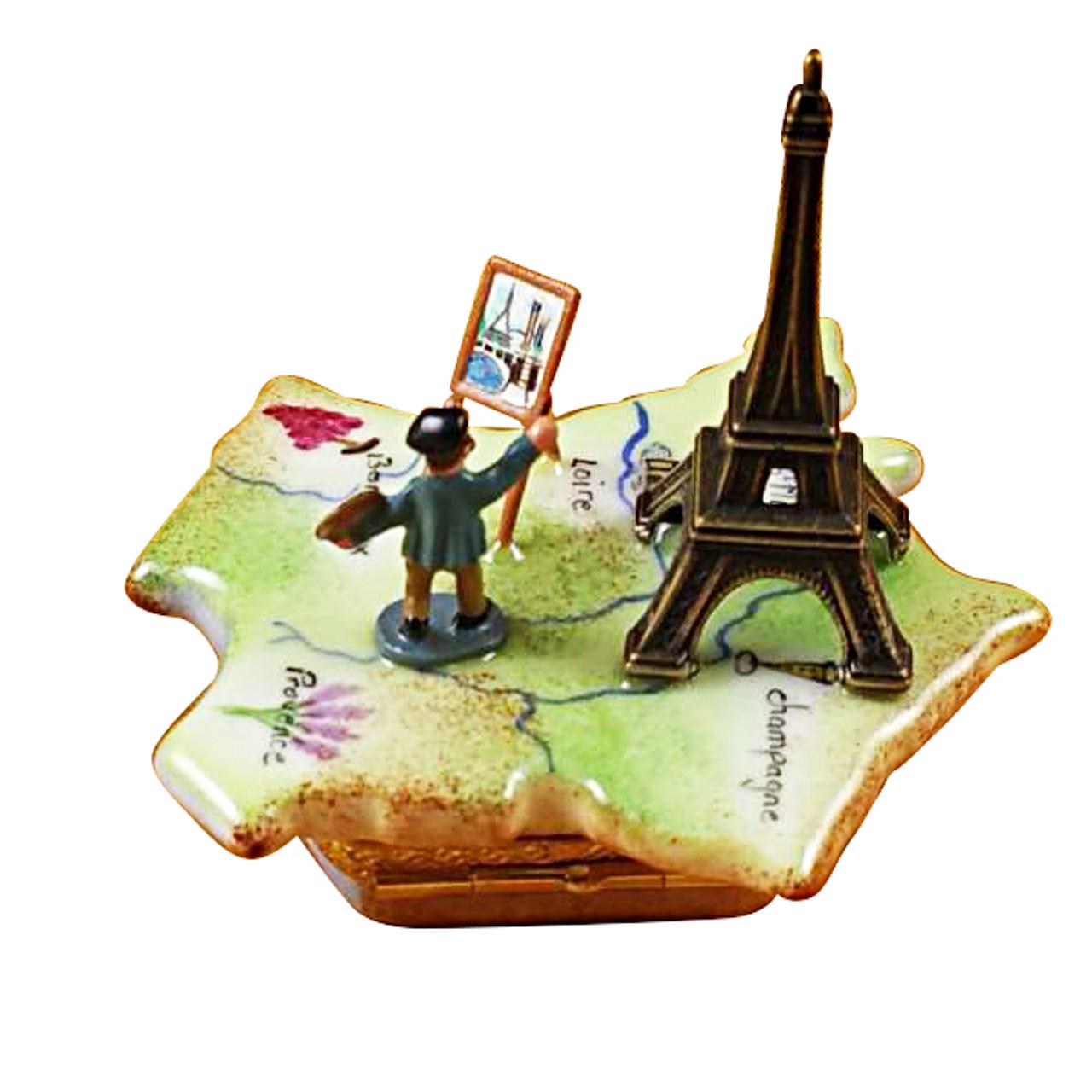 Map Of France W/Monet & Eiffel Tower Rochard Limoges Box