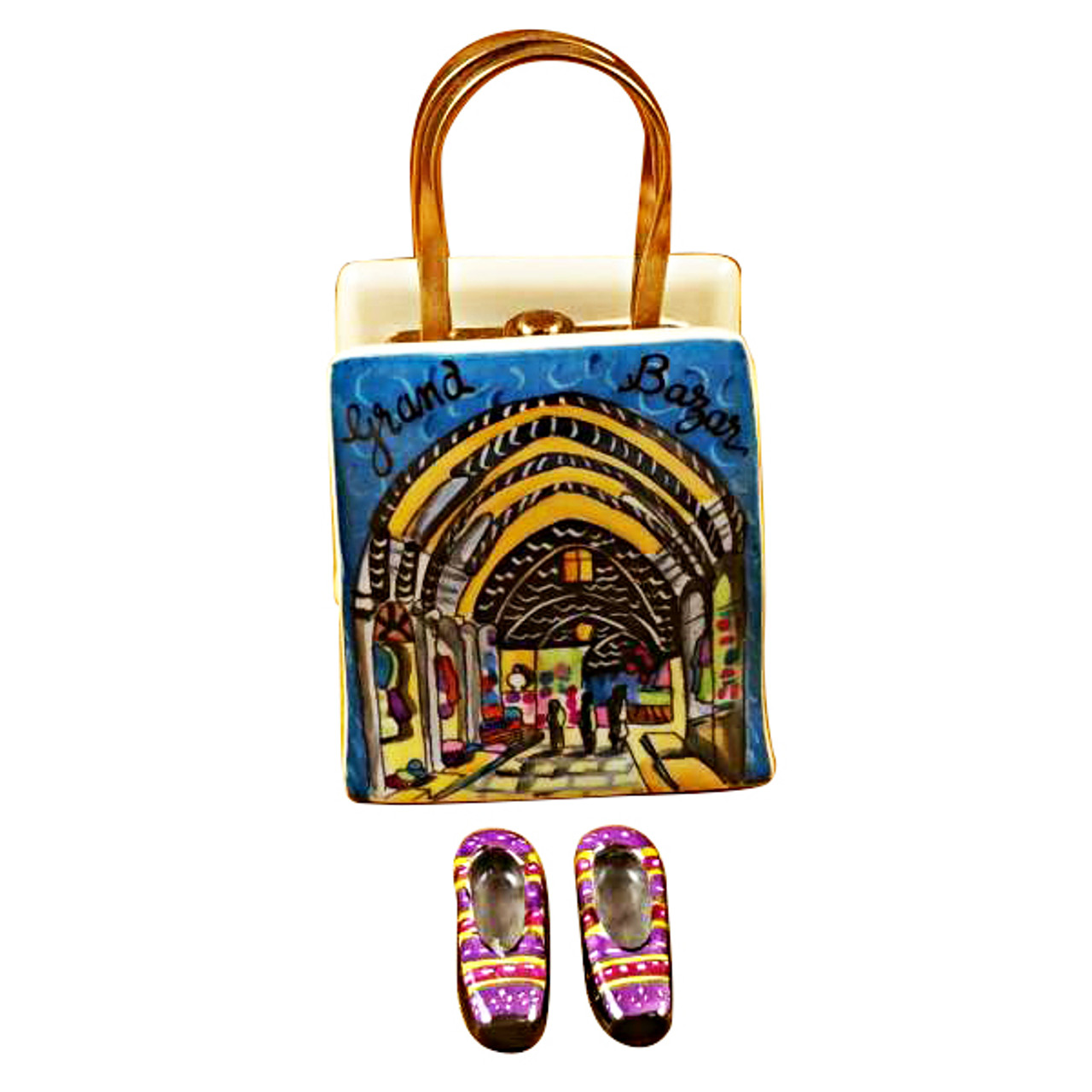 Istanbul Turkey Shopping Bag With Removable Turkish Slippers Rochard Limoges Box