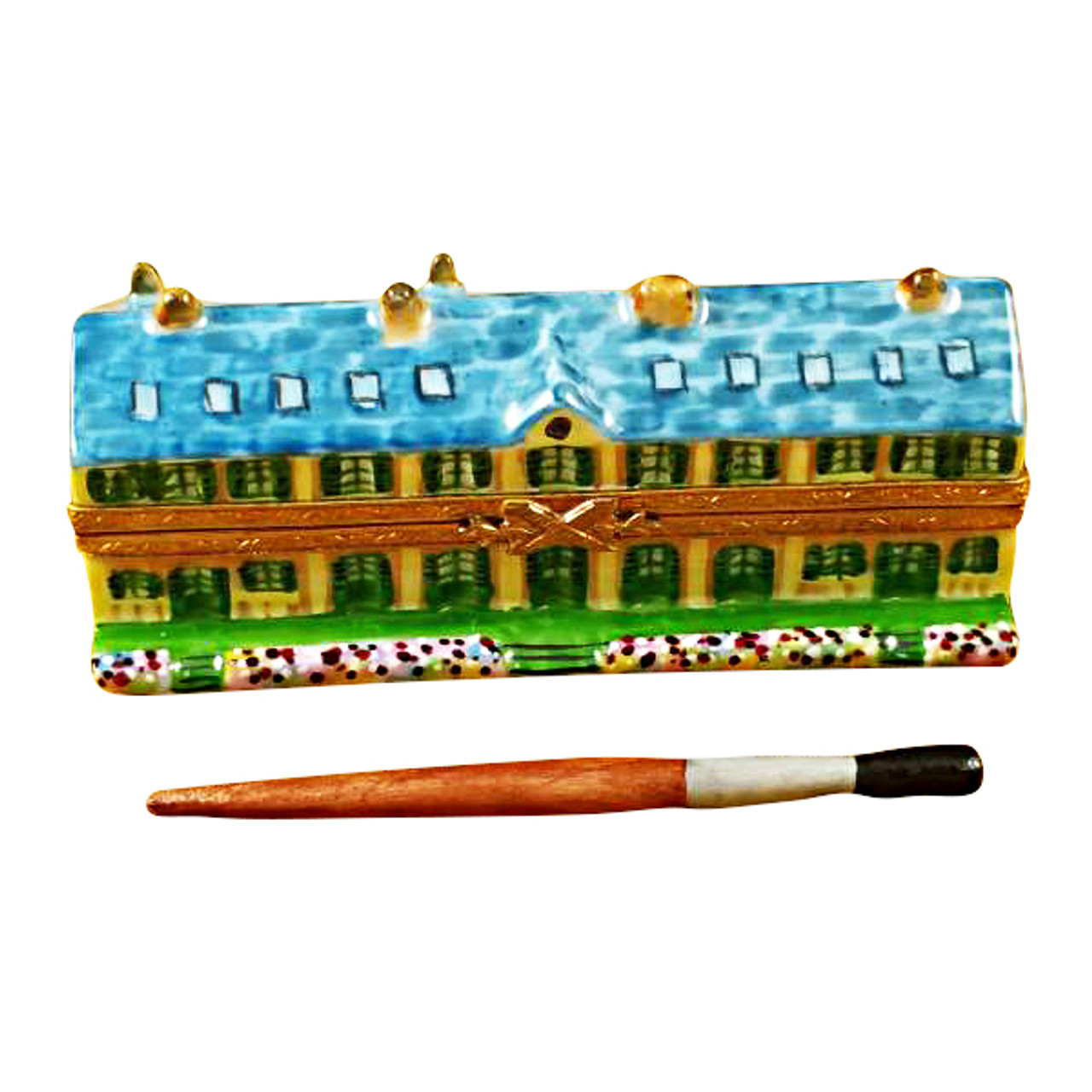 Rochard Monet'S Residence At Giverny With Removable Paint Brush Limoges Box RT172-Q