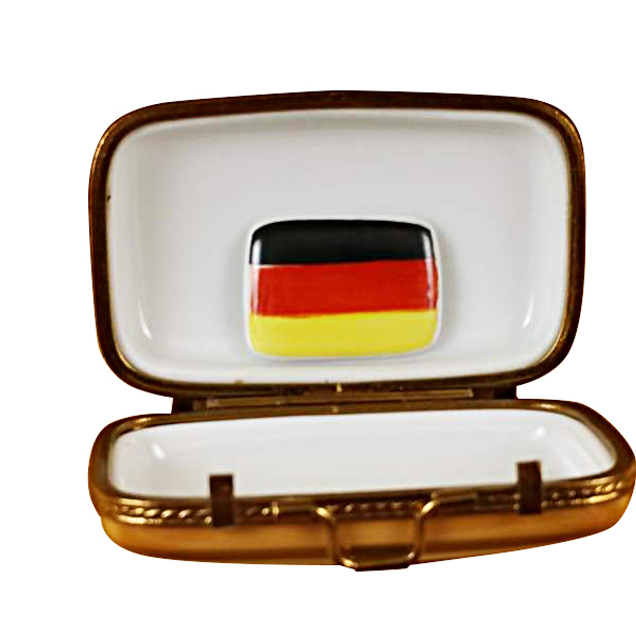 German Travel Suitcase W/Flag Rochard Limoges Box