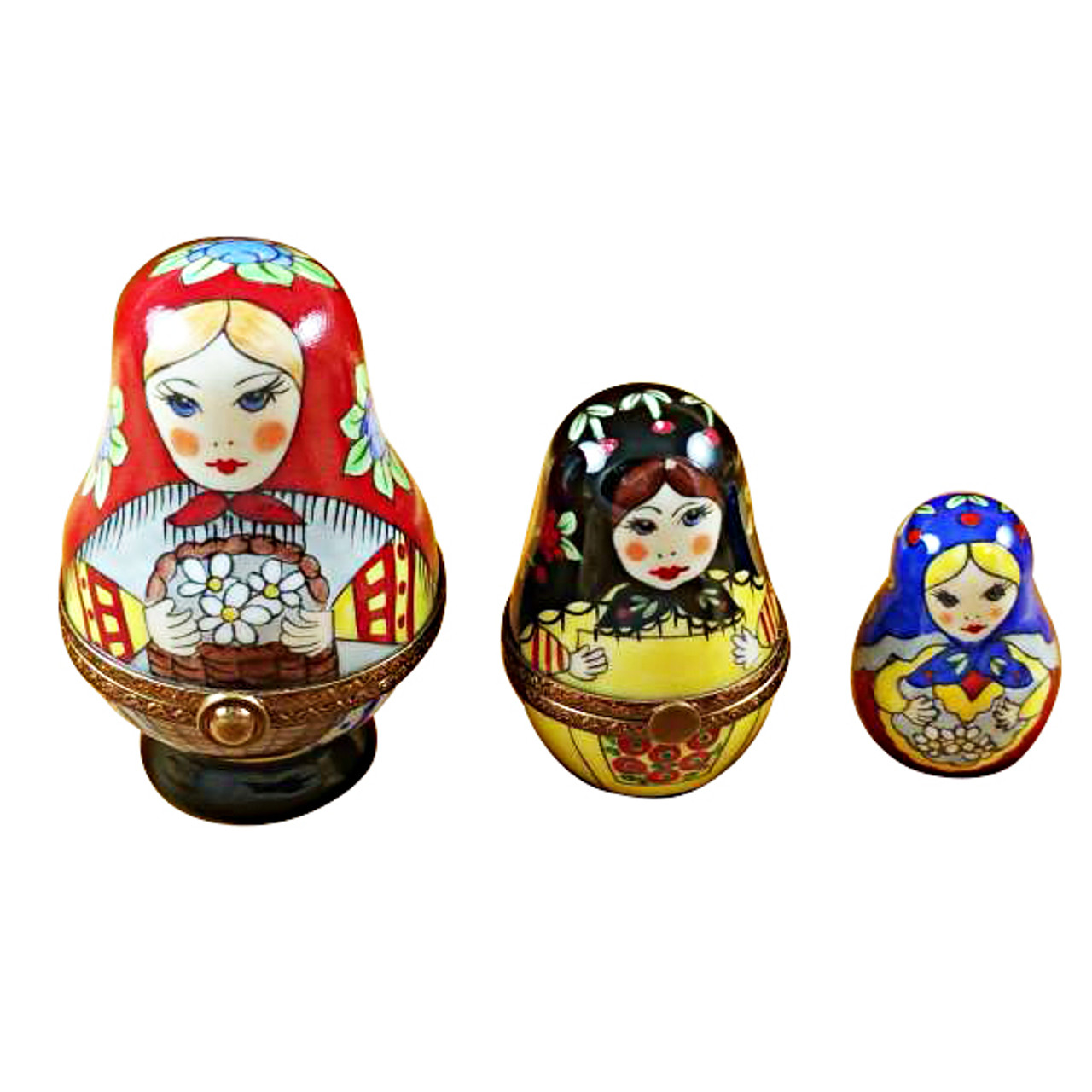 Russian Dolls S/3 Red Scarf Rochard Limoges Box