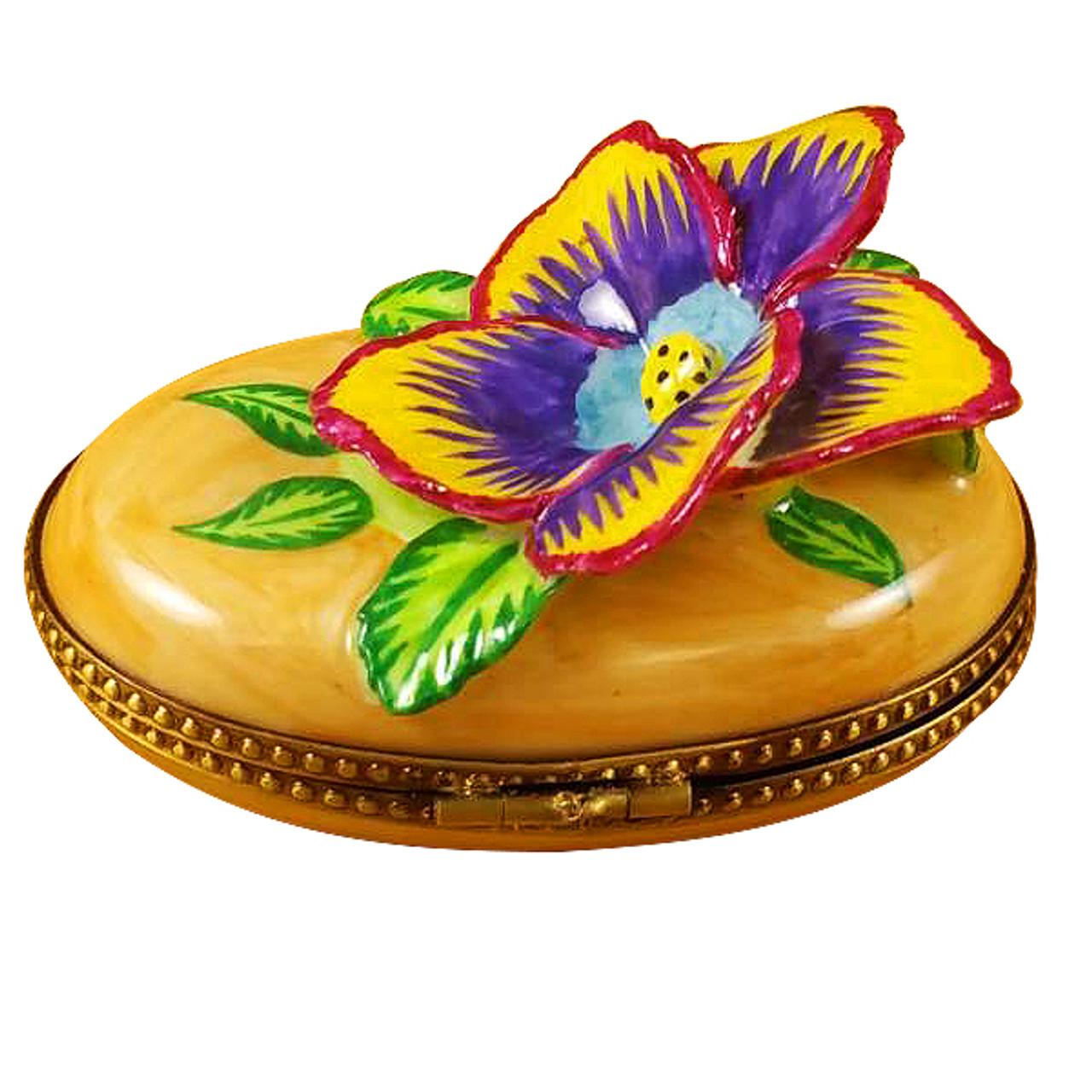Pansy - Yellow Rochard Limoges Box