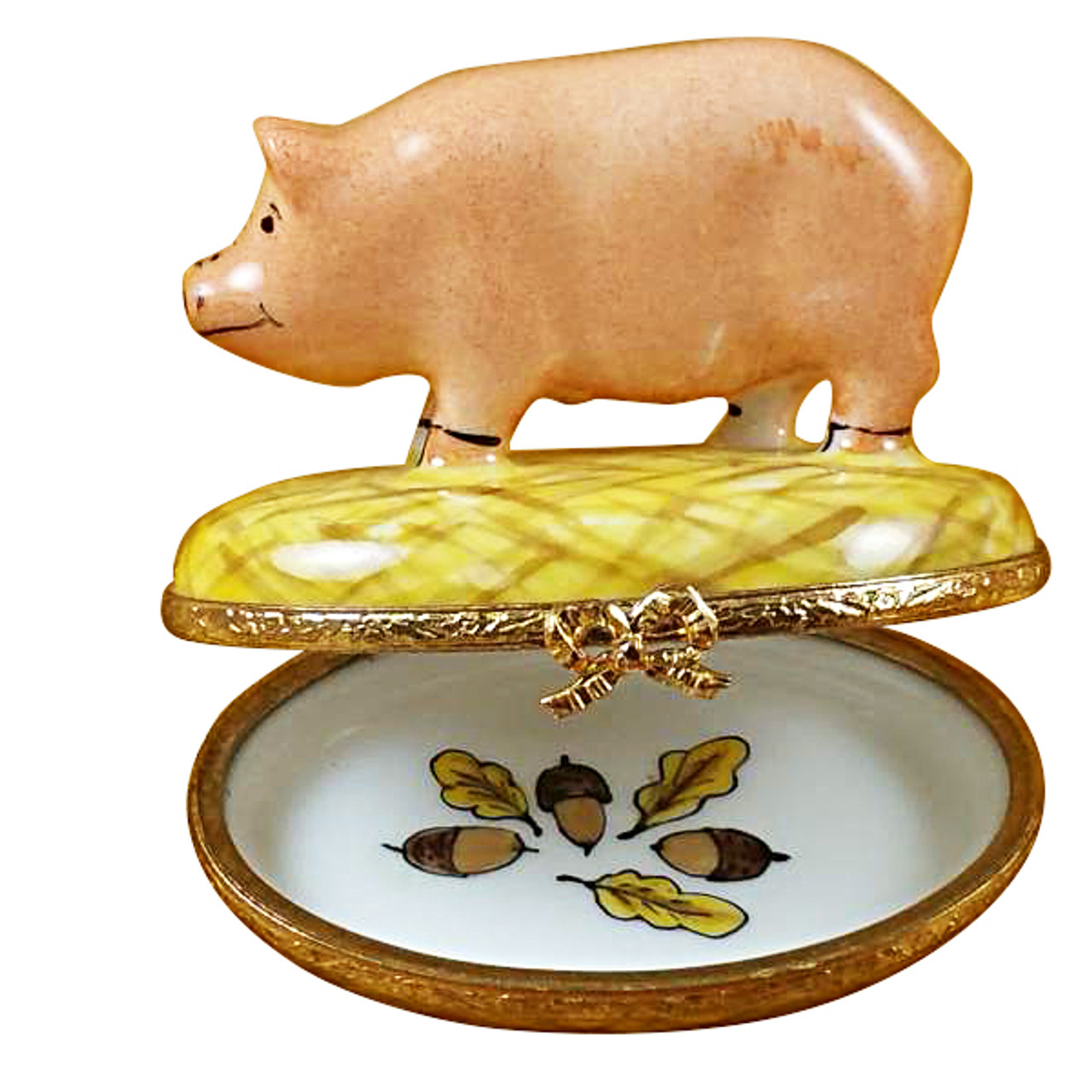 Limoges Imports Pig On Straw Limoges Box