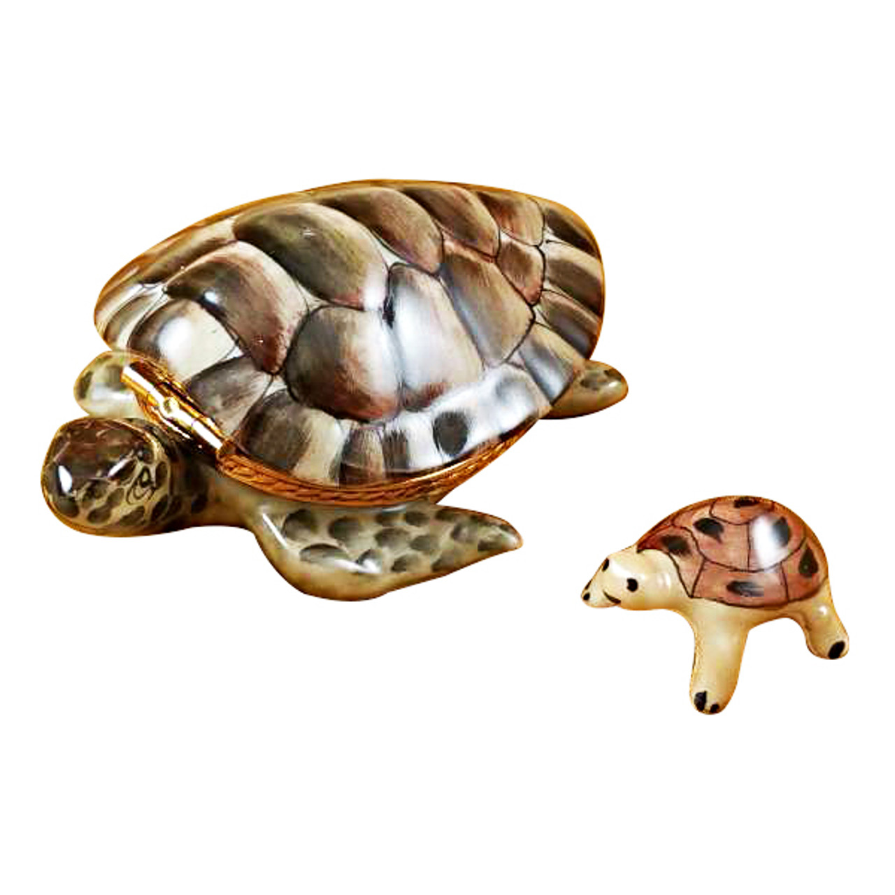 Limoges Imports Turtle W/Baby Limoges Box