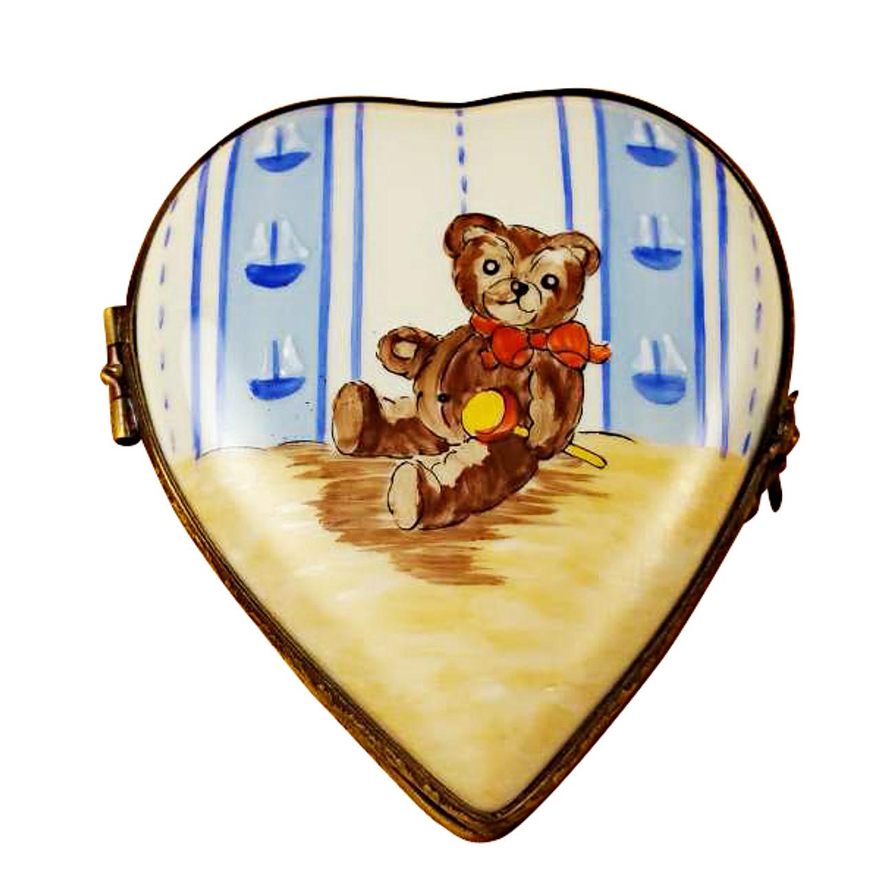 Limoges Imports Heart W/Teddy Bear Limoges Box