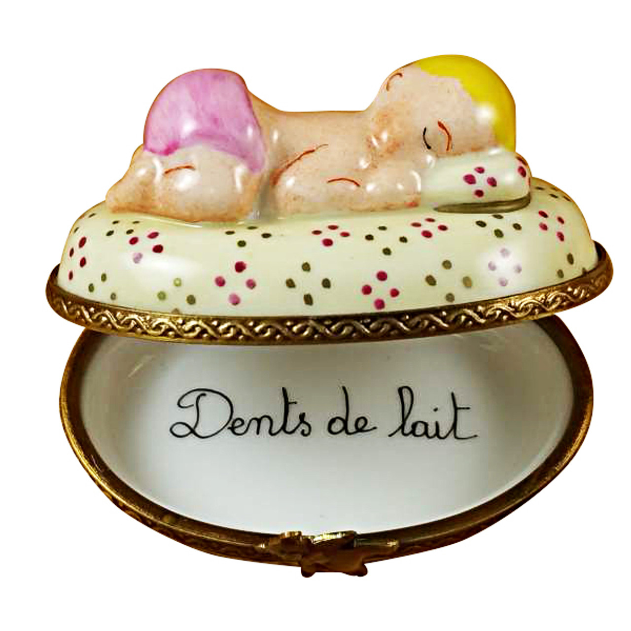 Limoges Imports Pink Baby Sleeping Limoges Box