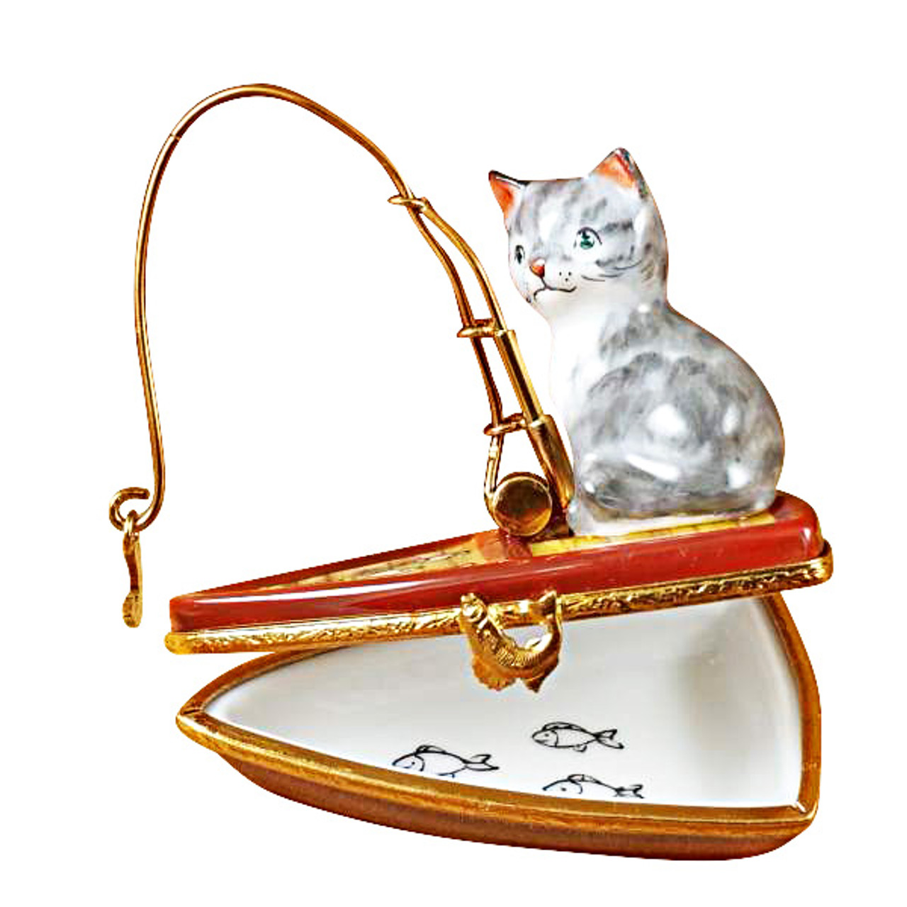Limoges Imports Cat Fishing In Boat Limoges Box