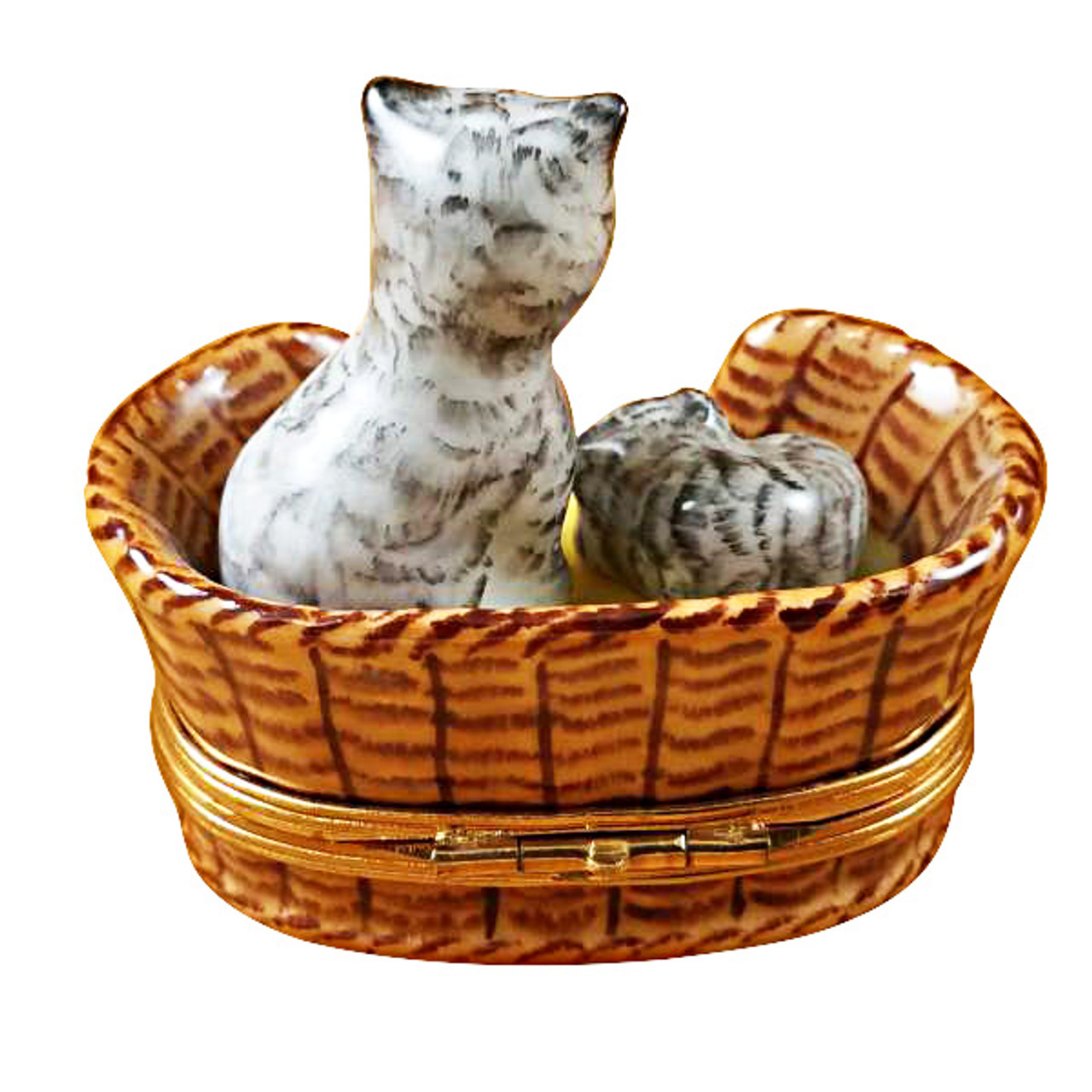 Limoges Imports Kitten In A Basket Limoges Box