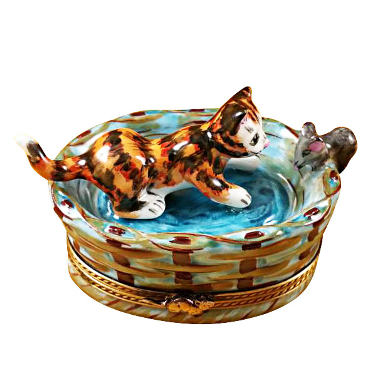 Limoges Imports Cat In Basket W/Mouse Limoges Box