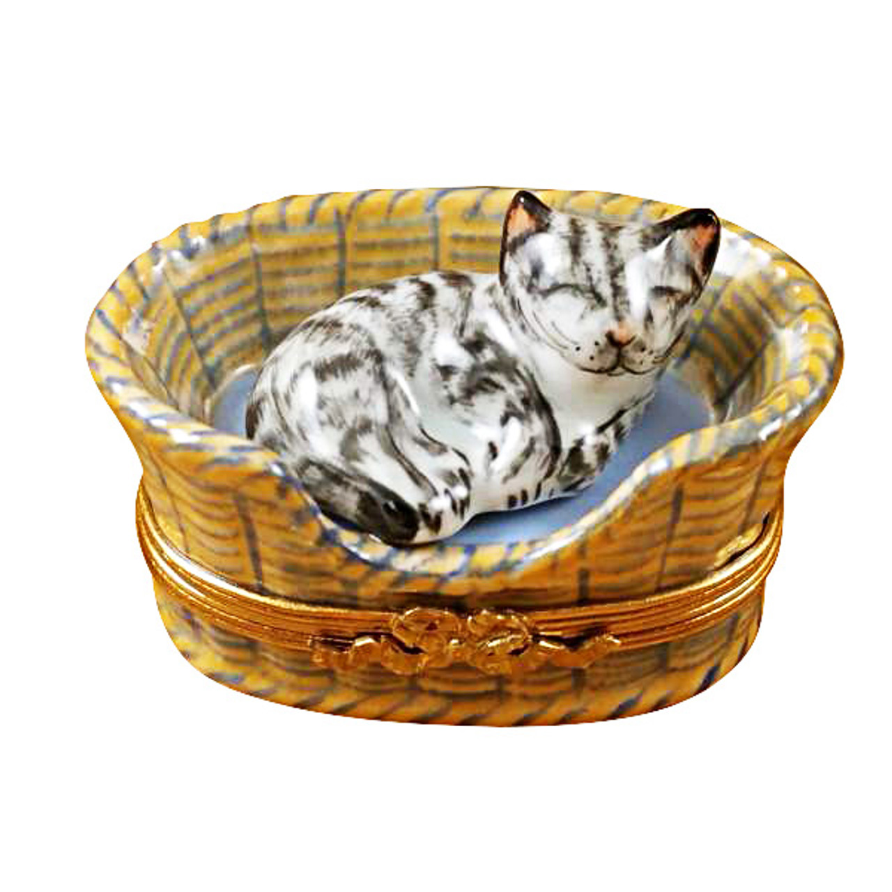 Limoges Imports Dreaming Cat/Mouse Inside Limoges Box