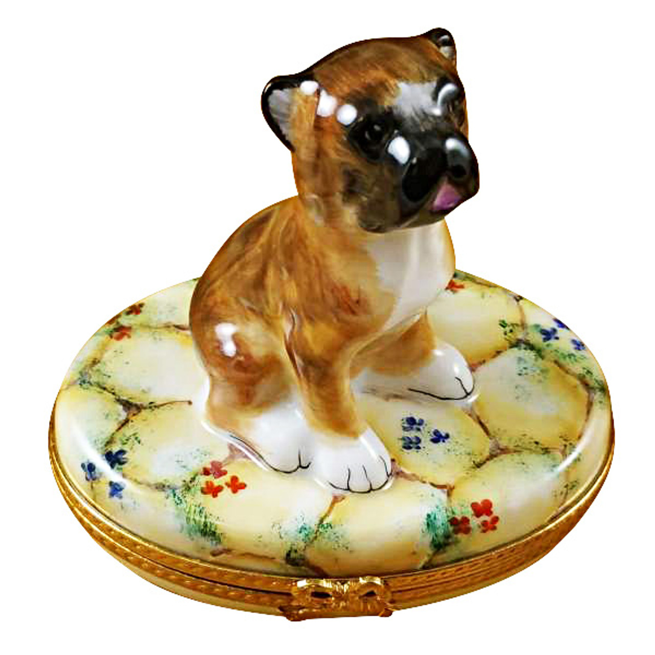 Limoges Imports Boxer On Stones Limoges Box