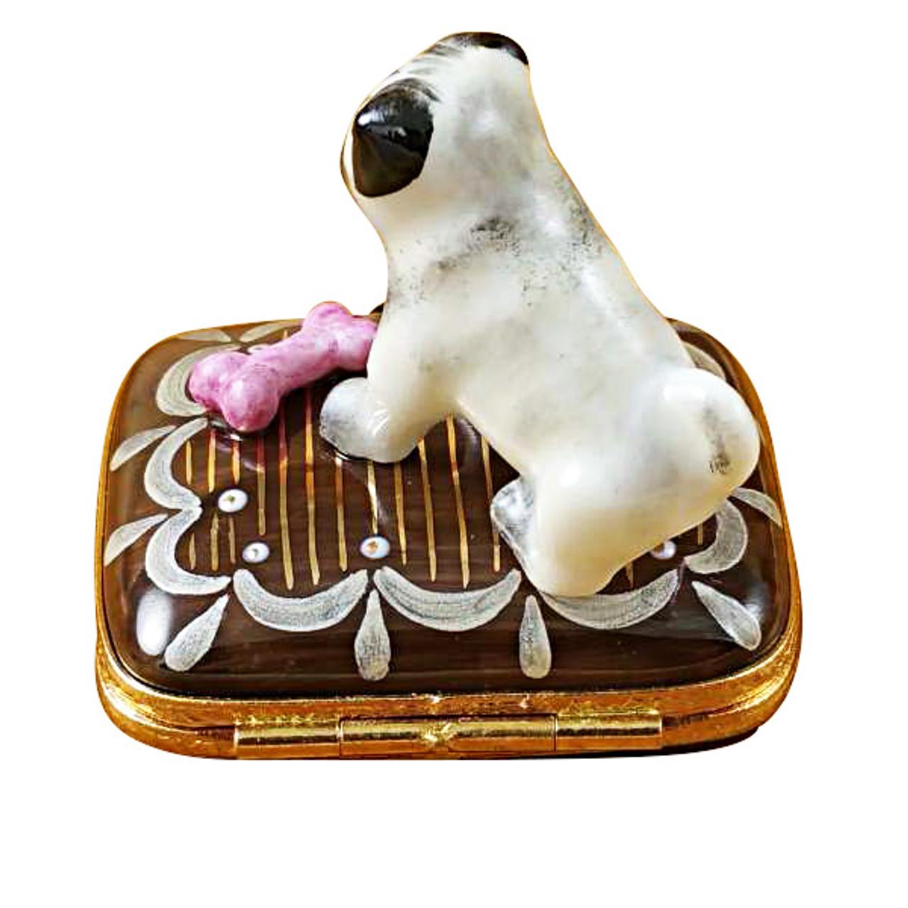 Limoges Imports Pug On Base With Bone Limoges Box