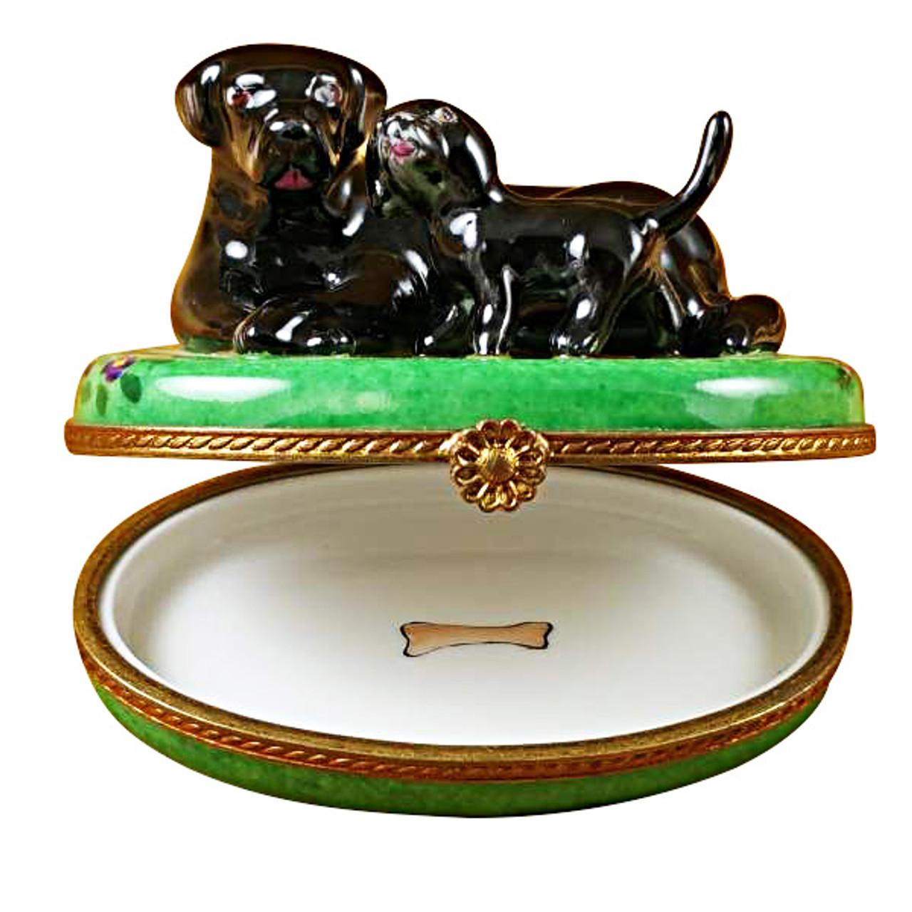 Limoges Imports Black Lab & Puppy Limoges Box