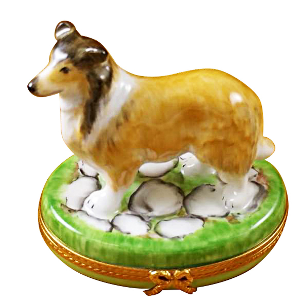 Limoges Imports Brown Collie Limoges Box