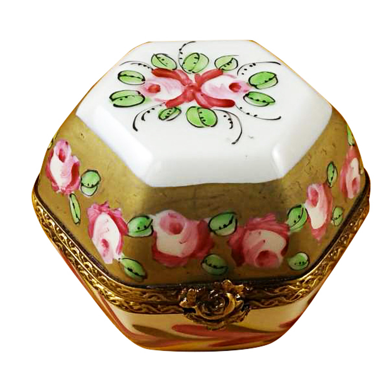 Limoges Imports Hexagon With Flowers Limoges Box