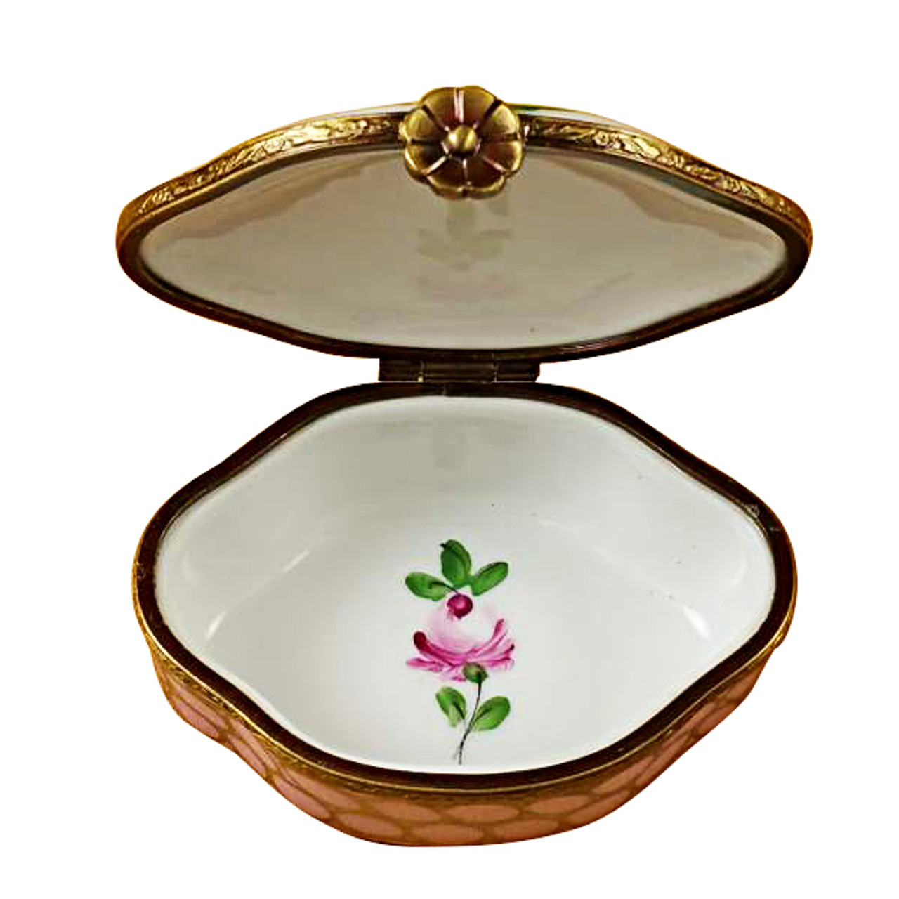 Limoges Imports Large Semi-Oval Pink/Gold Limoges Box