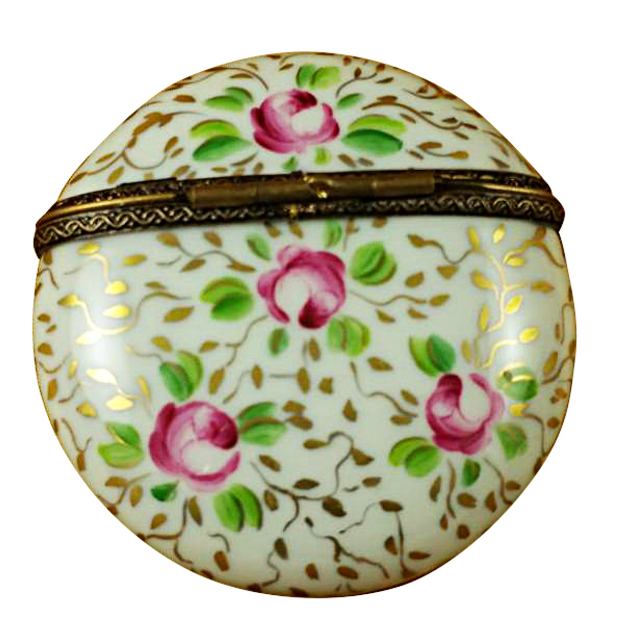 Limoges Imports Round W/ Gold & Pink Flowers Limoges Box