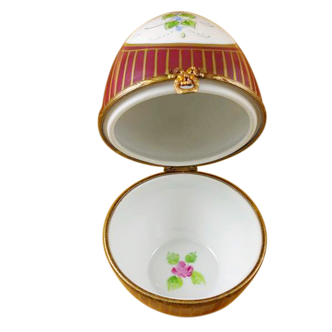 Limoges Imports Large Burgundy Egg W/ Flowers Limoges Box