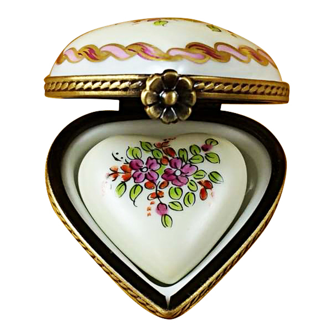Limoges Imports Yellow & Pink Heart W/Heart Limoges Box