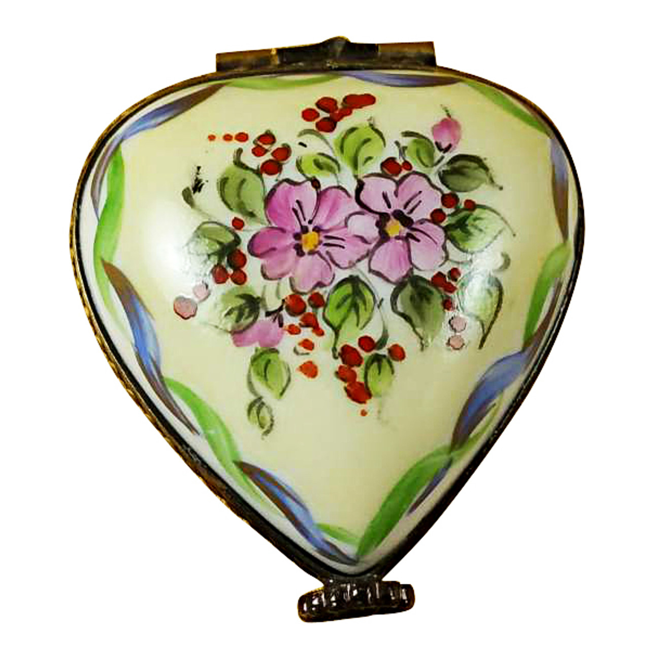 Limoges Imports Yellow/Green Heart W/ Heart Limoges Box