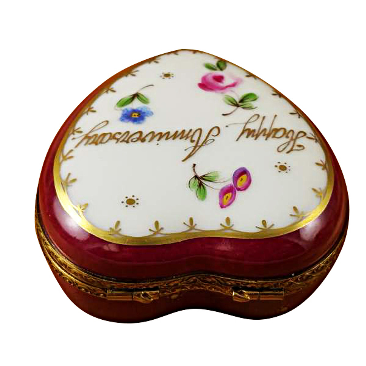 Limoges Imports Happy Anniversary Heart W/Bottle Limoges Box
