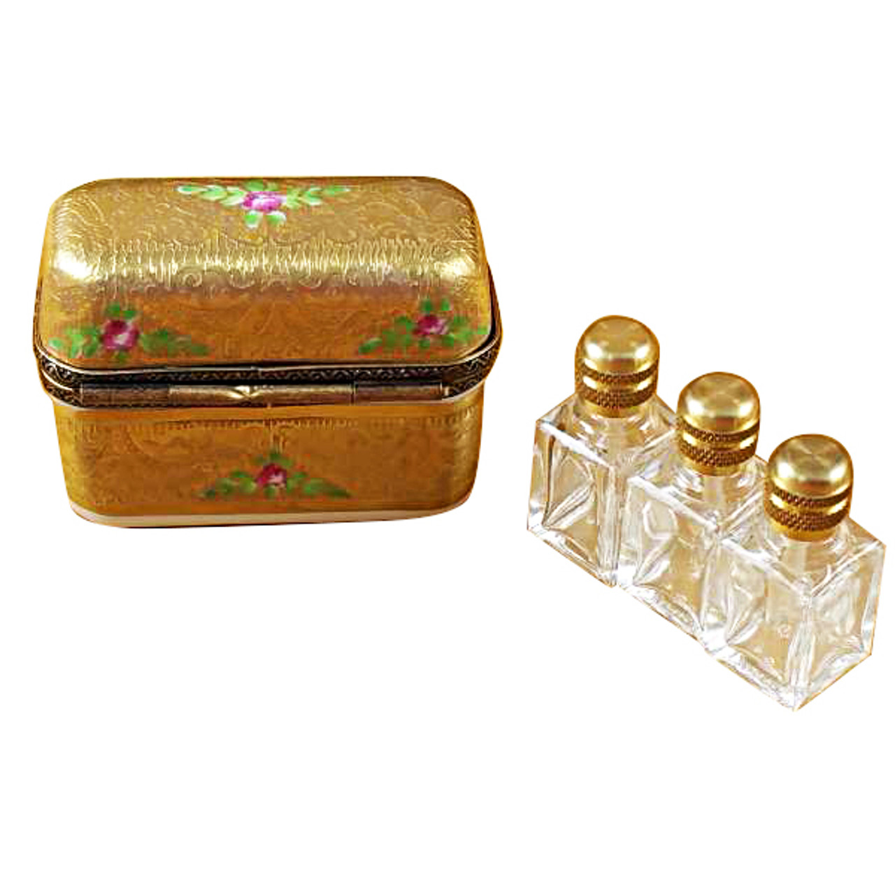 Limoges Imports Gold Flowery W/3 Bottles Limoges Box