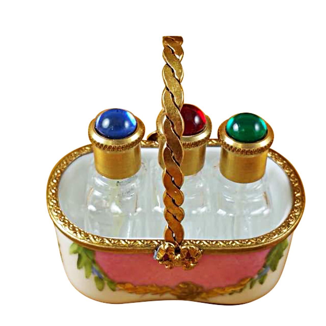 Limoges Imports Pink Basket W/3 Bottles Limoges Box