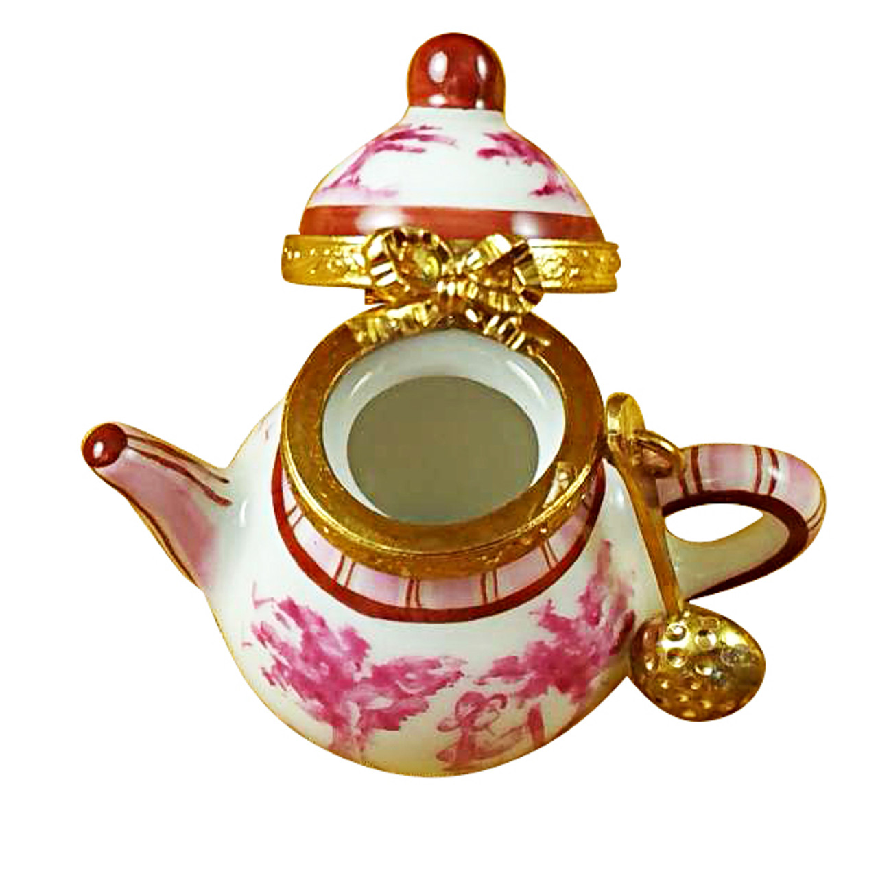 Limoges Imports Pink Toile Teapot Limoges Box