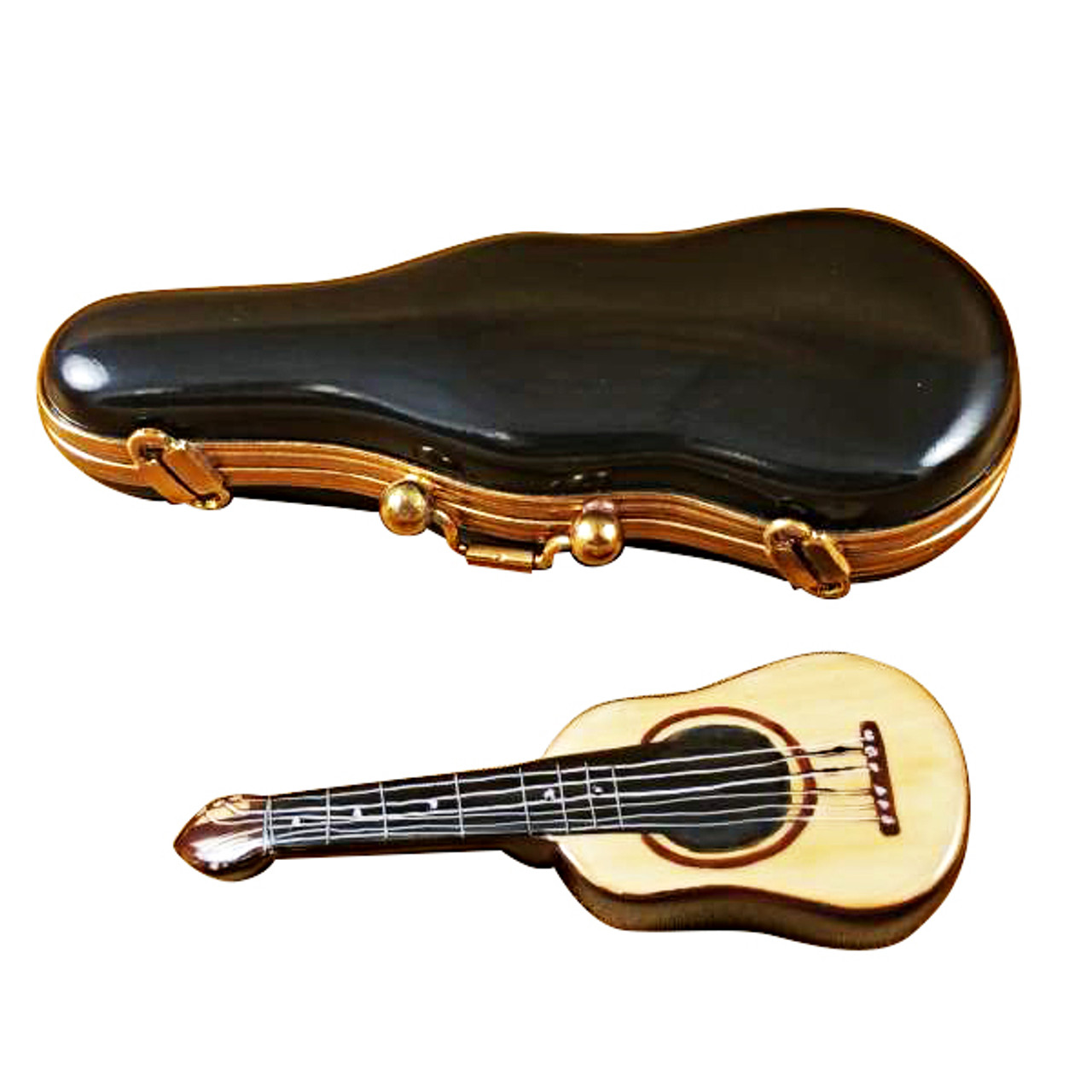 Limoges Imports Guitar In Black Case Limoges Box