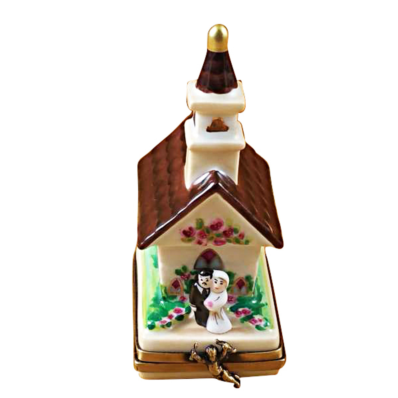 Limoges Imports Wedding Church W/Removable Bride & Groom Limoges Box