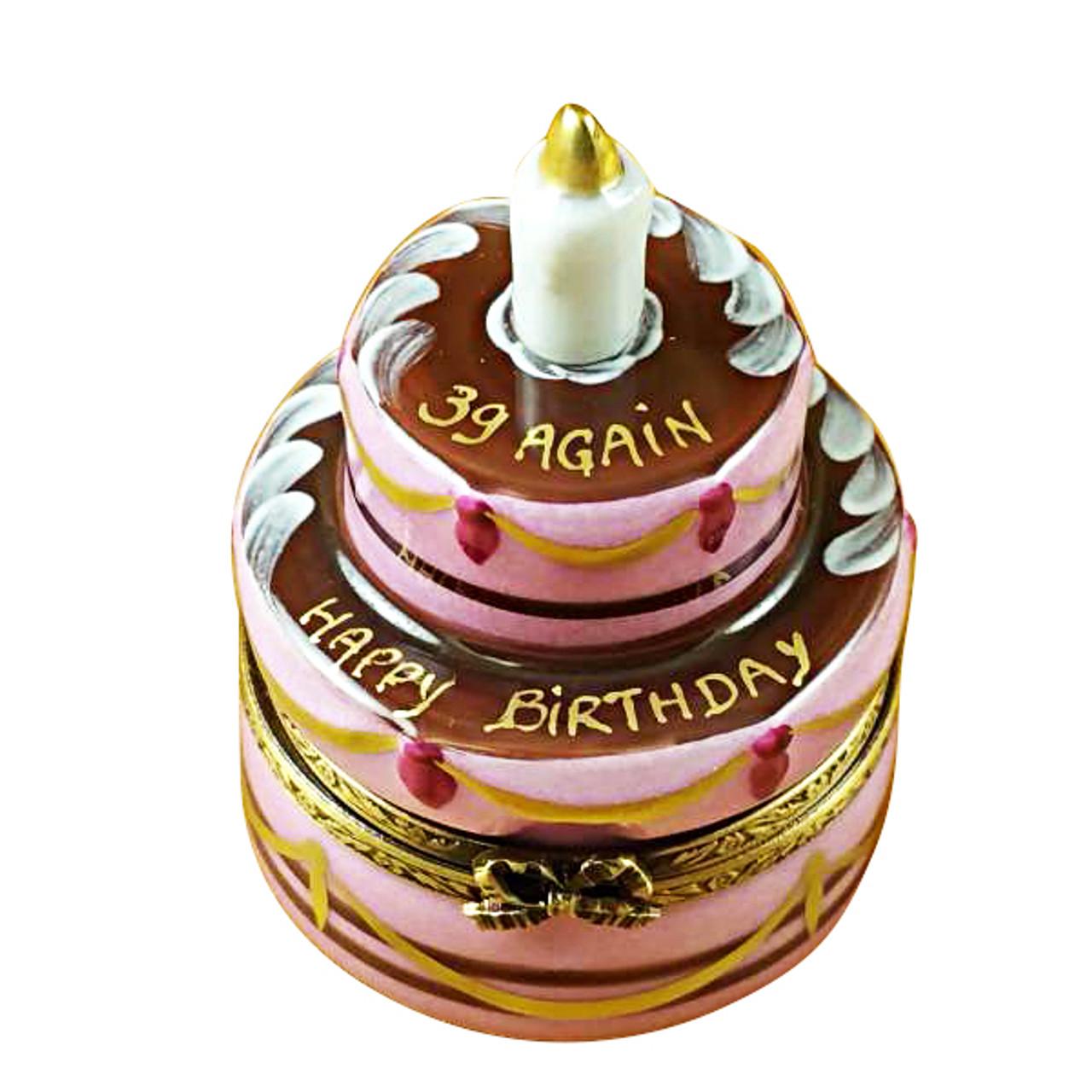 Limoges Imports Birthday Cake - '39 Again' Limoges Box