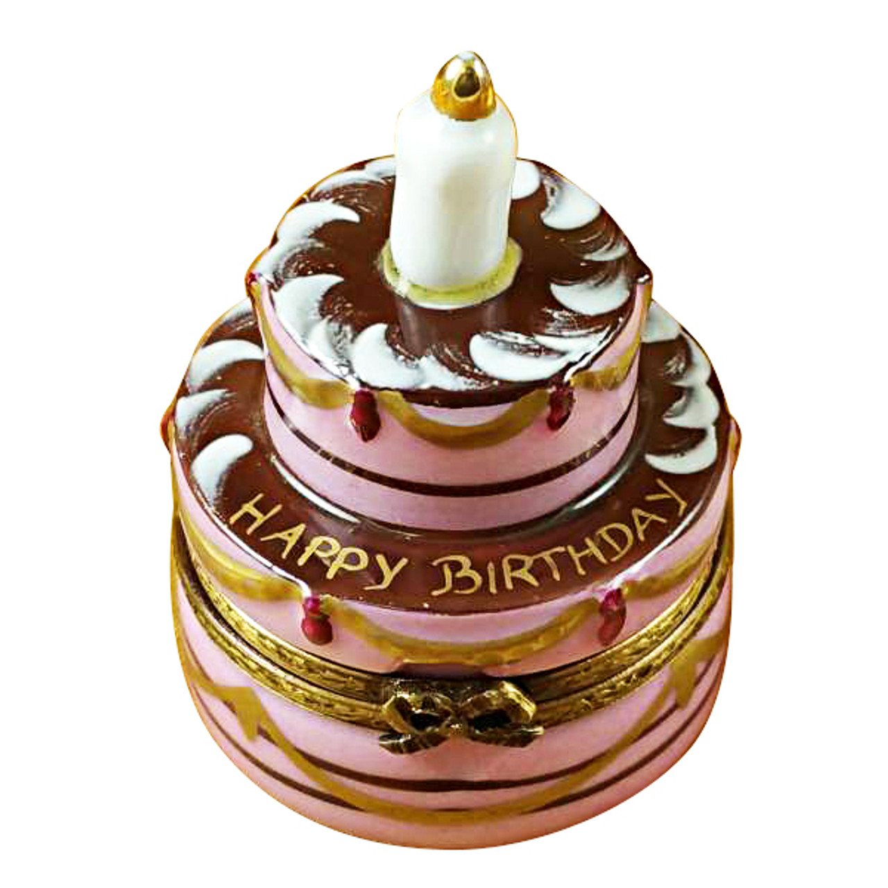 Limoges Imports Birthday Cake W/Candle Limoges Box